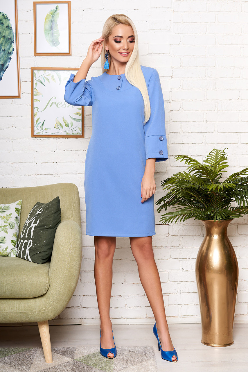 """Прямое женское платье """"S-62"""" до колена рукав три четверти с пришивными пуговицами (голубой)"""