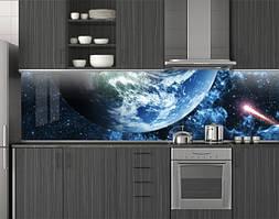Пластиковый кухонный фартук ПВХ Планета и комета, стеновые панели пластик скинали фотопечать, Космос, синий, 620*2050 мм