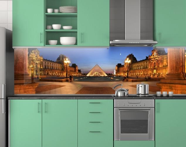 Пластиковый кухонный фартук ПВХ Лувр Париж, Самоклеящаяся стеновая панель для кухни, Архитектура, бежевый