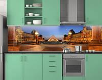 Пластиковый кухонный фартук ПВХ Лувр Париж, Самоклеящаяся стеновая панель для кухни, Архитектура, бежевый, фото 1