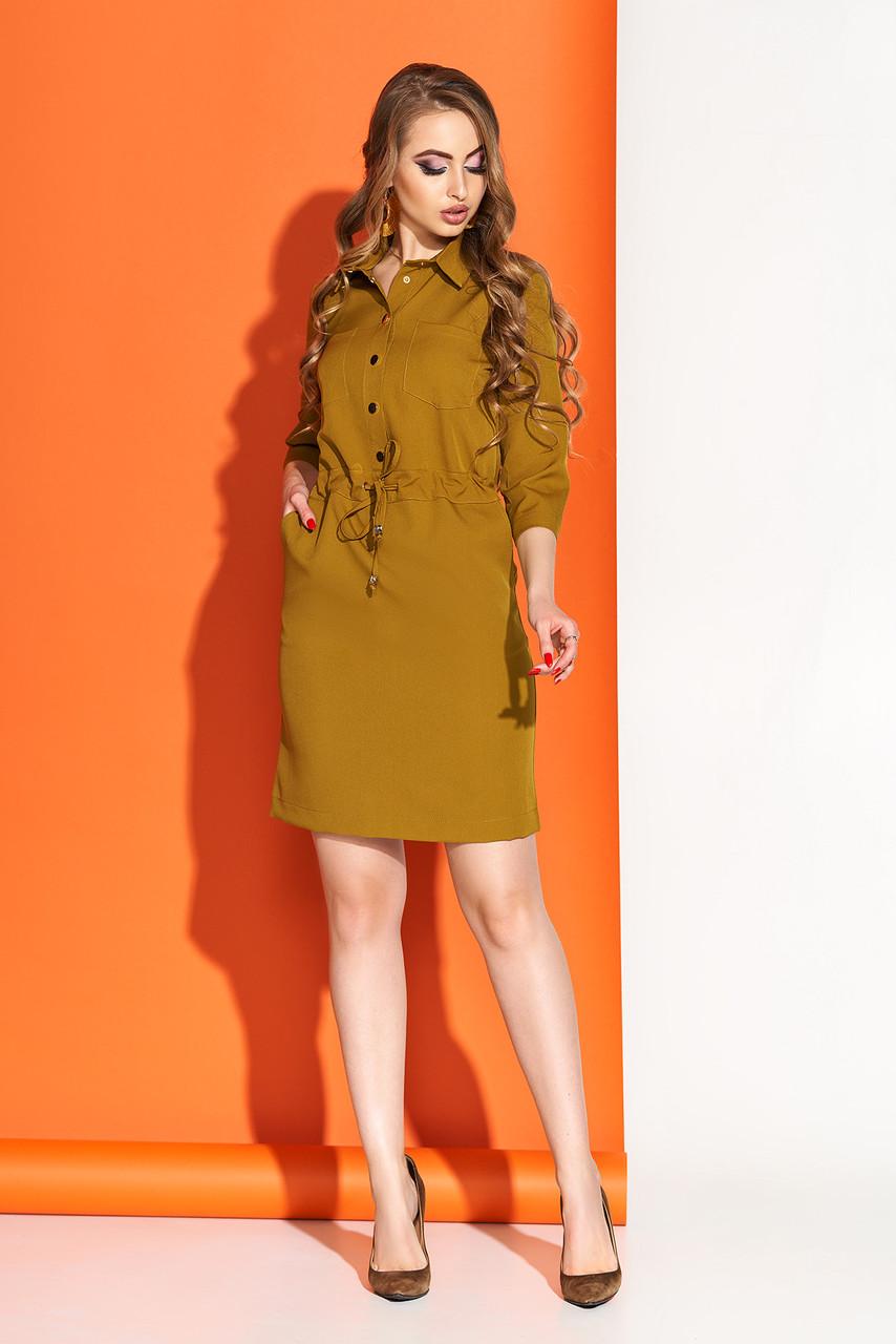 """Отличное женское повседневное платье """"AZ-110""""  свободного кроя длиной до линии колена с поясом (горчица)"""