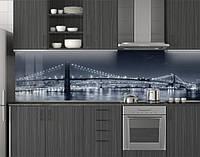 Пластиковый кухонный фартук ПВХ Холодный свет огней моста, Стеновая панель для кухни с фотопечатью, Мосты