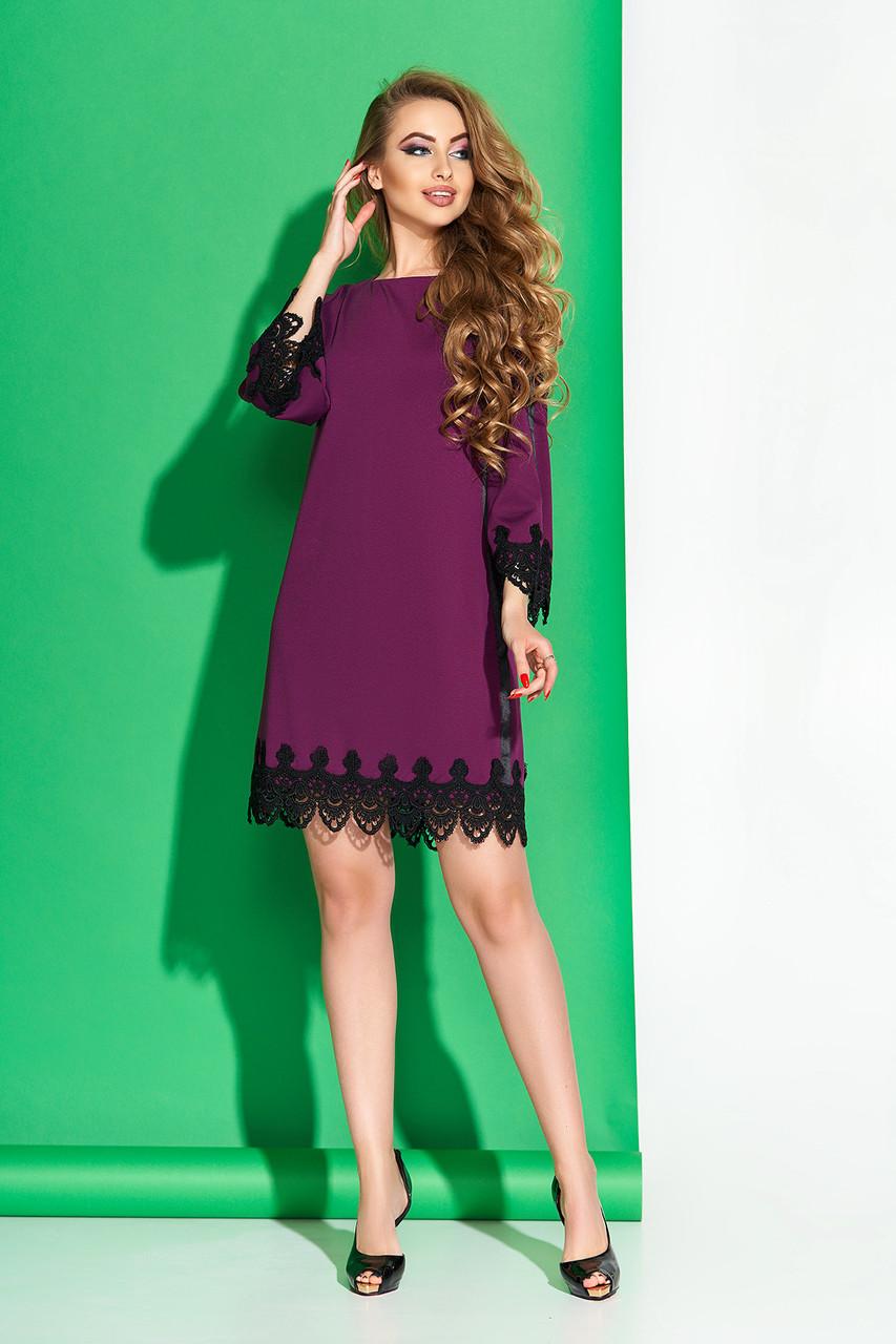 """Нарядное платье """"Камила"""" с кружевной отделкой по низу изделия и рукавам (бордо)"""
