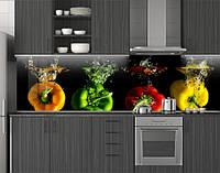 Пластиковый кухонный фартук ПВХ Яркий перец, стеновые панели пластик скинали фотопечать, черный