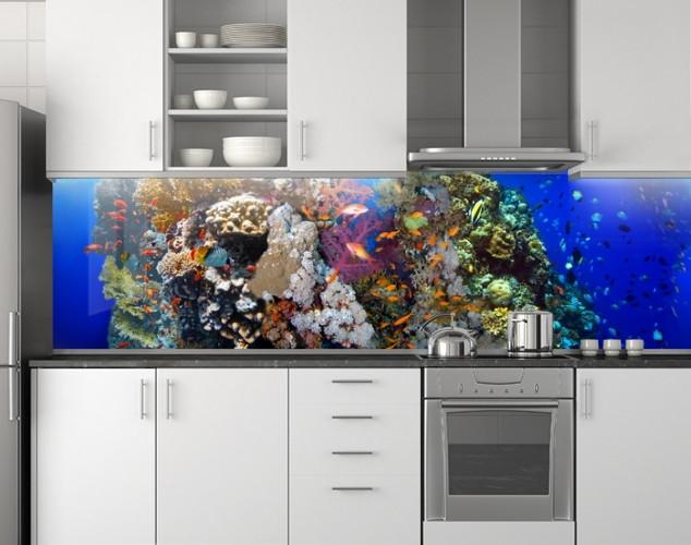 Пластиковый кухонный фартук ПВХ Аквариум 07, стеновые панели пластик скинали фотопечать, рыбы, кораллы, синий