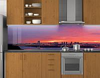 Пластиковый кухонный фартук ПВХ Розовый рассвет над рекой, стеновые панели пластик скинали фотопечать, Мосты, фото 1