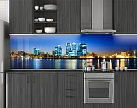 Пластиковый кухонный фартук ПВХ Отражение огней города, стеновые панели пластик скинали фотопечать, синий, фото 1
