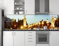 Пластиковый кухонный фартук ПВХ Прогулочный мост с фонарями, стеновые панели пластик скинали фотопечать, Мосты, фото 1