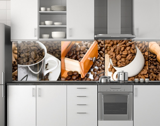 Пластиковый кухонный фартук ПВХ Зерна кофе, стеновые панели пластик скинали фотопечать, коричневый