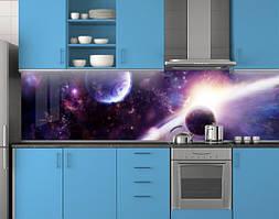 Пластиковый кухонный фартук ПВХ Планеты, Стеновая панель с фотопечатью, Космос, фиолетовый