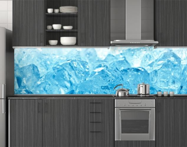 Пластиковый кухонный фартук ПВХ Голубой лед, скинали с фотопечатью, Текстуры, стеновая панель для кухни