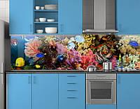 Пластиковый кухонный фартук ПВХ Аквариум 09, Стеновая панель для кухни с фотопечатью, рыбы, кораллы