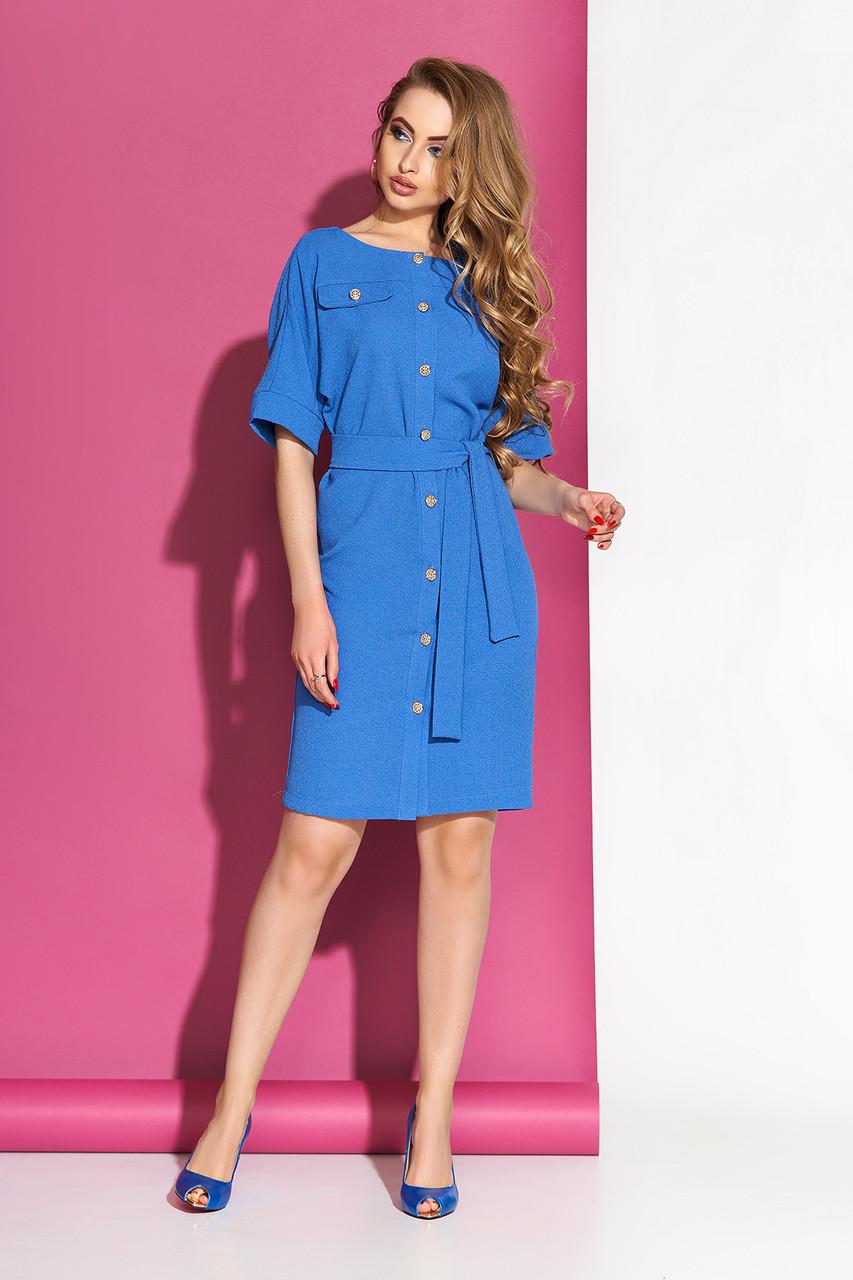 """Стильное платье-рубашка """"S-64"""" с декоративными клапанами по груди и поясом (голубой)"""