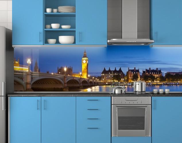 Пластиковый кухонный фартук ПВХ Мост и башня с часами, стеновые панели пластик скинали фотопечать, Мосты