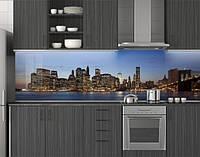 Пластиковый кухонный фартук ПВХ Огни города на рассвете, стеновые панели пластик скинали фотопечать, Мосты, фото 1