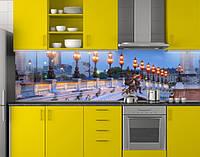 Пластиковый кухонный фартук ПВХ Вечерние фонари на мосту, стеновые панели пластик скинали фотопечать, Мосты, фото 1