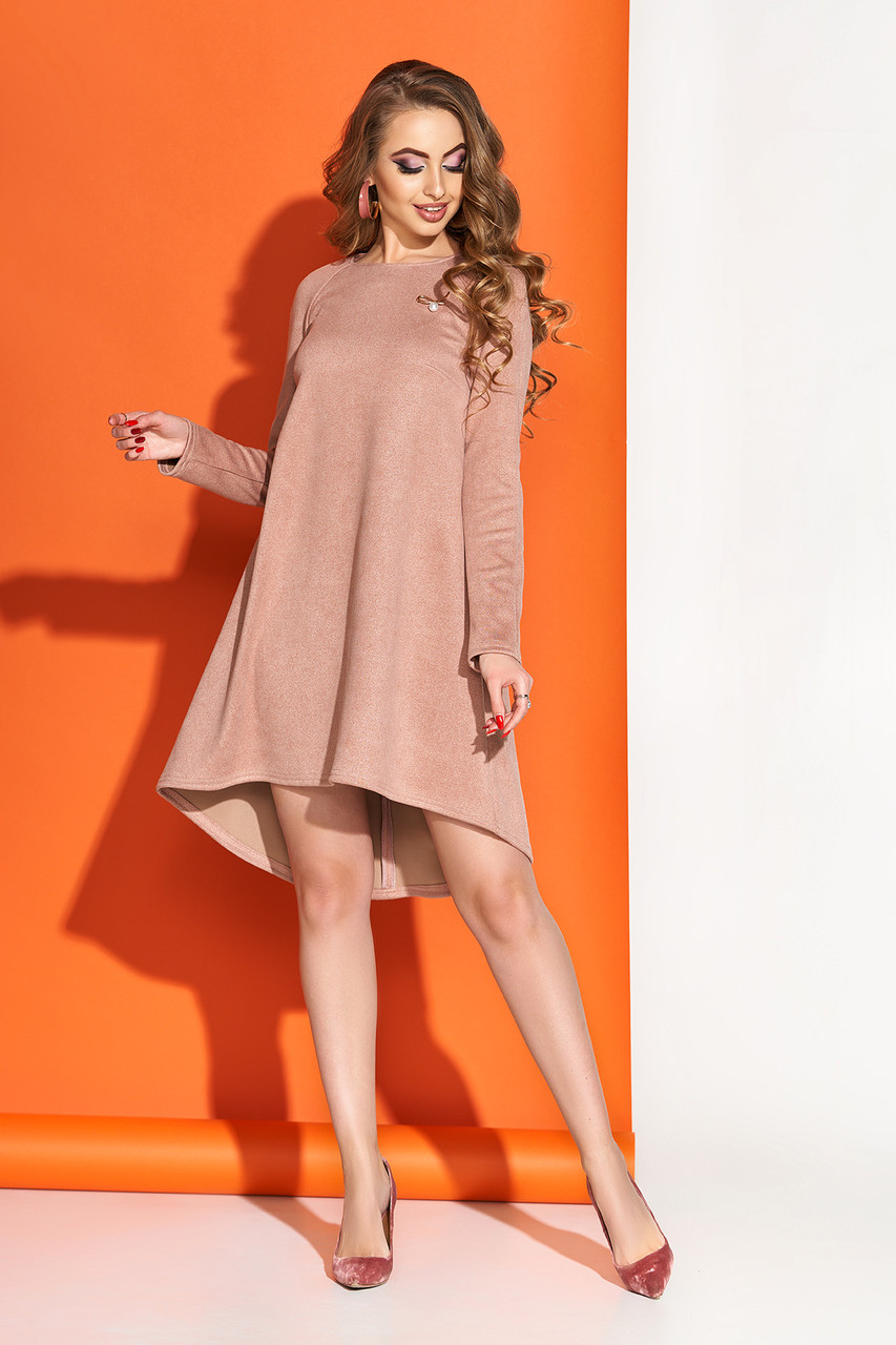 """Женское нарядное замшевое платье """"S-65"""" с удлиненной спинкой (пудра)"""