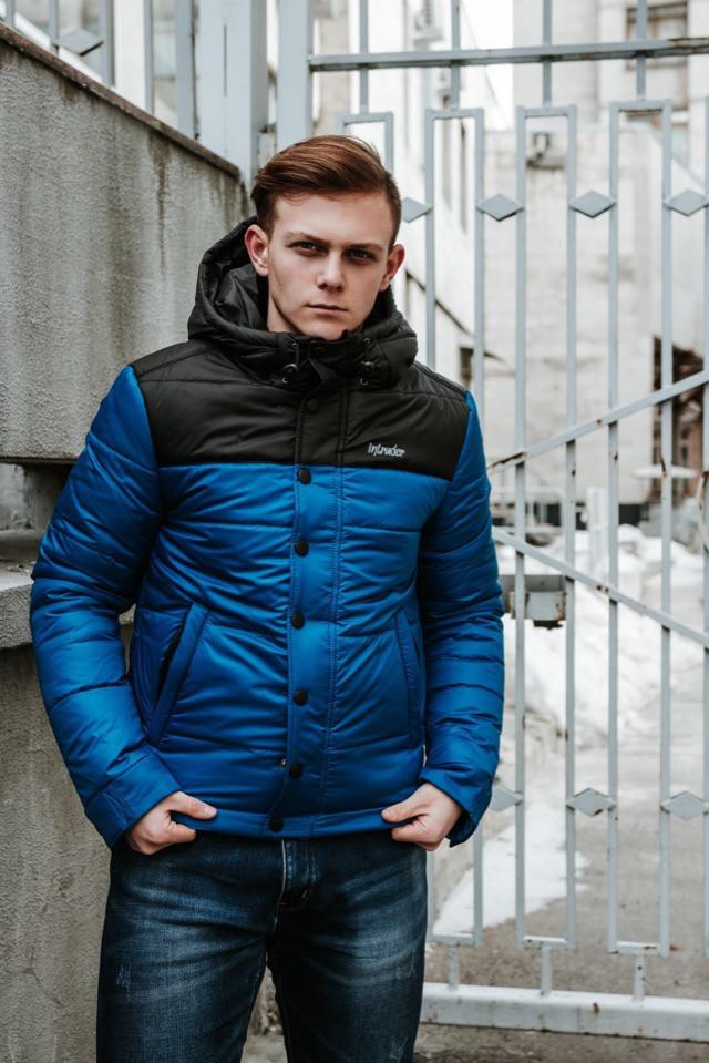 "Мужская Весенняя куртка Intruder  ""Brave Soul"" (черно / синий)"