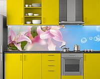 Пластиковый кухонный фартук ПВХ Розовые лилии и голубое небо, стеновые панели пластик скинали для кухни, Цветы