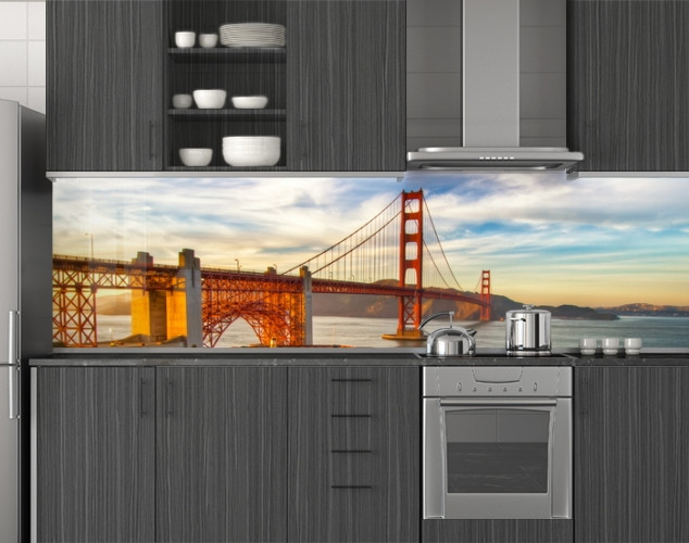 Пластиковый кухонный фартук ПВХ Железный мост на рассвете, стеновые панели пластик скинали фотопечать, Мосты