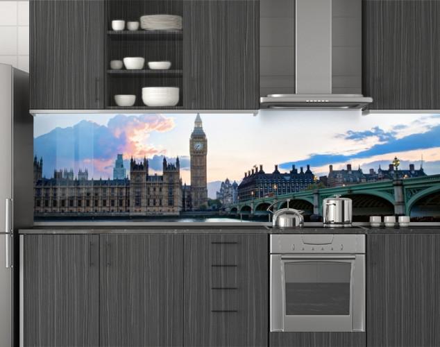 Пластиковый кухонный фартук ПВХ Лондонский мост Биг-Бен, стеновые панели пластик скинали фотопечать, Мосты