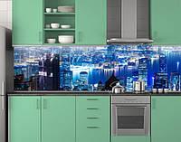Пластиковый кухонный фартук ПВХ Синий ночной город, Стеновая панель для кухни с фотопечатью, скинали