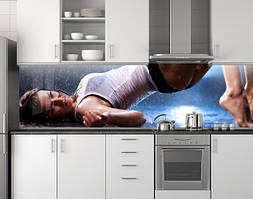 Пластиковый кухонный фартук ПВХ Мокрая девушка, стеновые панели пластик скинали фотопечать, Люди, синий