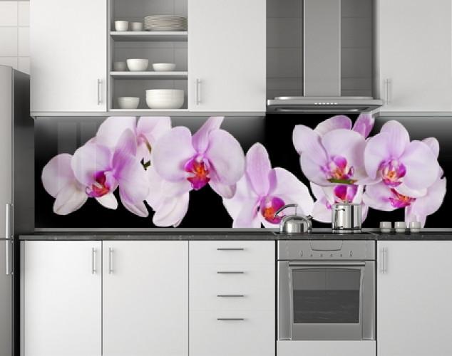 Пластиковый кухонный фартук ПВХ Розовые орхидеи 12, Самоклеящаяся стеновая панель для кухни, Цветы, черный