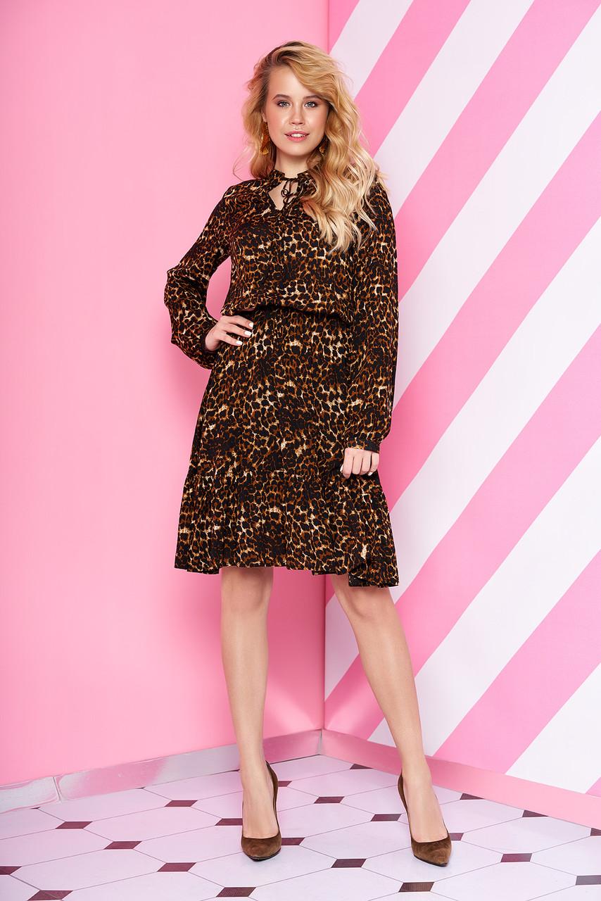 """Женское платье""""L-203"""" до колен с актуальным тигровым принтом (коричневый)"""