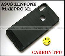 Черный противоударный чехол бампер Carbon TPU для Asus Zenfone max pro M1 ZB602KL X00td