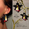 Серьги с цветами ручной работы. Чёрные орхидеи с ягодами