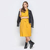 793648e2c4e Горчичное стильное платье-рубашка юбка плиссе