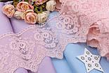 Кружево светло-розового цвета с маками и зубчатым узором, ширина 15 см., фото 2