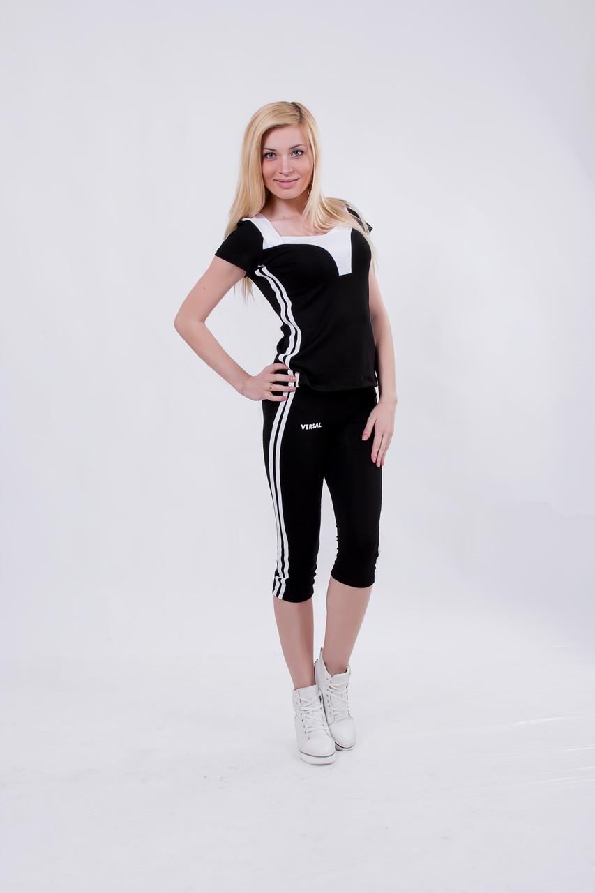 Костюм спортивный женский с бриджами черный