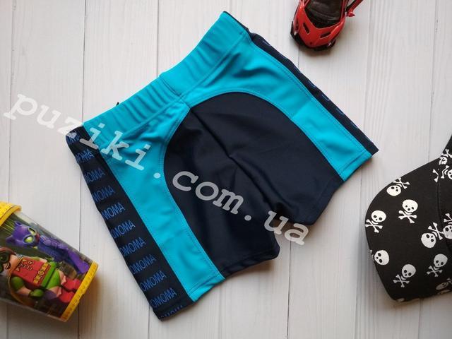 Сине-голубые пляжные детские плавки-шорты фото