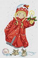 Набор для вышивания крестиком Девочка в красном пальтишке. Размер: 15,9*24,5 см