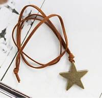 Подвеска Звезда на шнурке / золотистый металл / Китай, фото 1