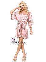Комплект домашний (халат-кимоно и сорочка) нежно розового цвета