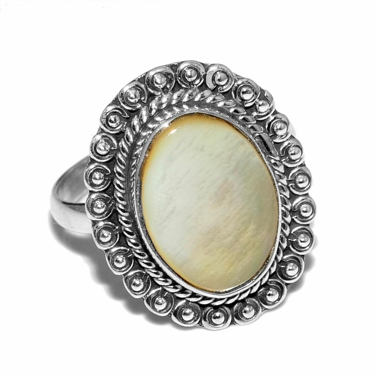 Перламутр, серебро 925, кольцо, 1015КП
