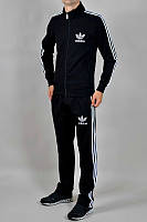 Спортивный костюм Adidas черный,РАЗМЕР 2XL стойка, лампасы, флис, 3Н