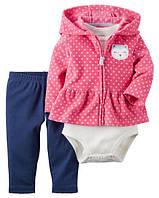 Carters Набор тройка для девочки: кофта, штаны и бодик на 18 месяцев