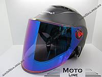 Шлем R5 черный матовый полулицевик открытый (тонированое стекло) Kurosawa