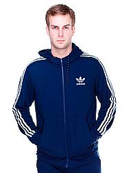 Толстовка Adidas, синяя, на змейке,РАЗМЕР 2ХЛ, флис, 2Н.