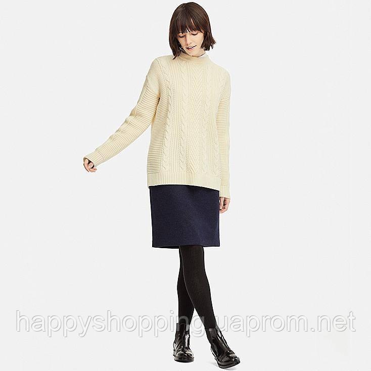 Женский светлый шерстяной свитер-туника Uniqlo