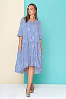 """Хлопковое летнее широкое платье-рубашка в полоску и с вышивкой, длиннее сзади """"L 604"""", бело-голубое"""