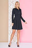 Базовое платье миди длины с воротником и юбкой клеш длинные рукава А-97 черное