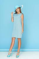 """Голубое летнее легкое платье в горох без рукавов с рюшами """"Стася"""" 6"""