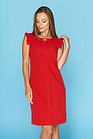 """Красное прямое летнее короткое платье в горошек без рукавов рюши """"Стася"""" 3"""