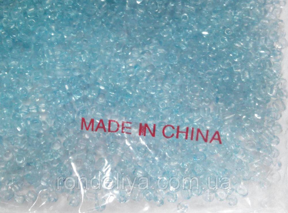 Бисер мелкий прозрачный нежно-голубой