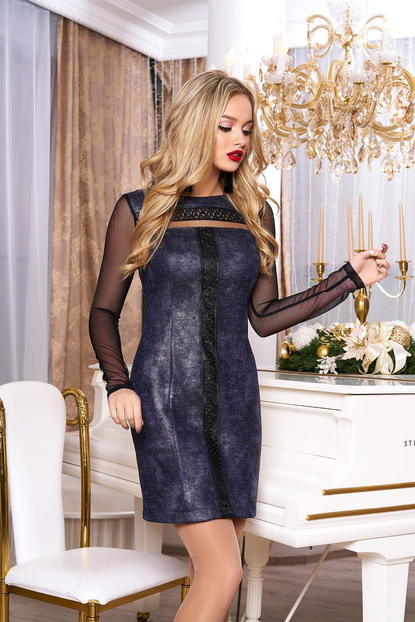 """Модное женское короткое платье из ангоры под кожу с длинным рукавом сеткой """"Джоанна"""" (электрик)"""